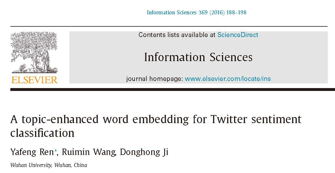 论文-姬东鸿-SCI-A topic-enhanced word embedding for Twitter sentiment classification